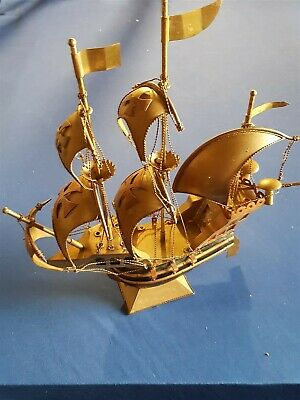Vintage Old Boat Ship Spanish Caravel Copper Brass Wood Table Top Lamp Rare