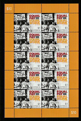 Australia 2019 : Equal Pay 50 Years, Sheetlet of 10  x $1.00 Decimal Stamps, MNH