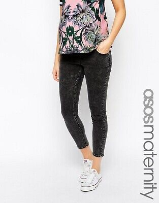 ASOS Maternity Ridley Skinny Ankle Grazer Jean in Black Acid Wash Black / AU 8
