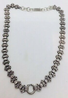 Antique Victorian Sterling Silver Unusual Book Chain Necklace