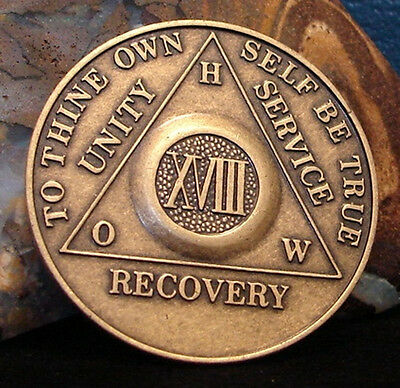 Alcoholics Anonymous 18 Year AA Bronze Medallion Coin Token Chip Sobriety Sober