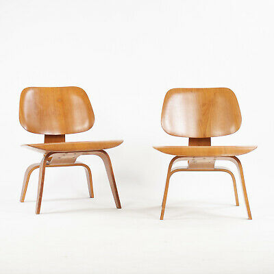 RARE Pair of Eames Evans Herman Miller 1948 LCW Lounge Chairs Wood Walnut