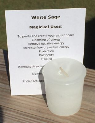WHITE SAGE Candle Crystal Journey Candles votive candle Purification Cleansing
