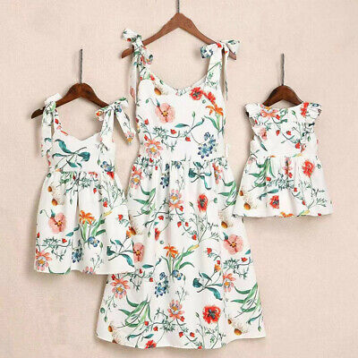 AU Family Matching Clothes Women Girl Mother and Daughter Floral Dresses Outfits