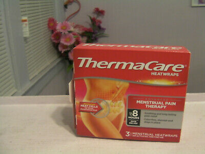 New ThermaCare Menstrual Pain Therapy Heatwraps 3 Ct Box exp 11/2021
