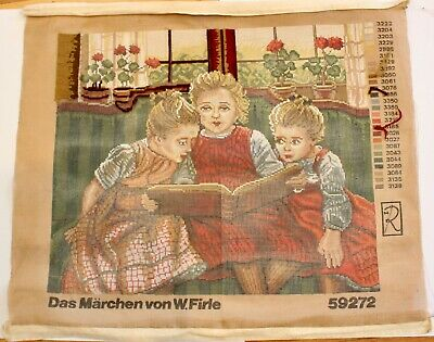 Vintage Tapestry The Fairy Tale by Walter Firle Germany, Partially worked 5 % GC