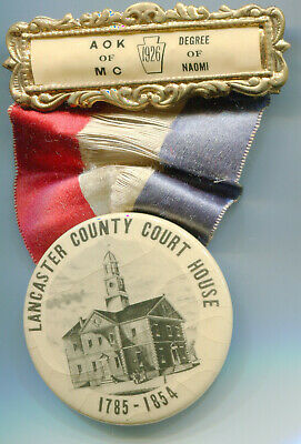 1926 Lancaster PA Ancient Order Knights of the Mystic Order Button Ribbon Medal
