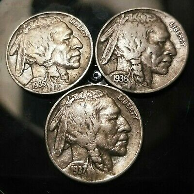 """1935 D INDIAN HEAD /""""BUFFALO/"""" NICKEL  *GOOD OR BETTER*   **FREE SHIPPING**"""