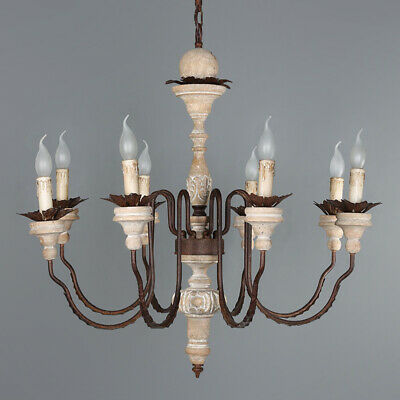 French Wood Rust Metal Candelabra Chandelier Rustic Pendant Ceiling Light 110V