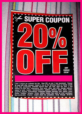 ⭐ Harbor Freight 20% Off Discount Coupon ⭐ Home Improvement etc.⭐ exp 10/10/19 ⭐