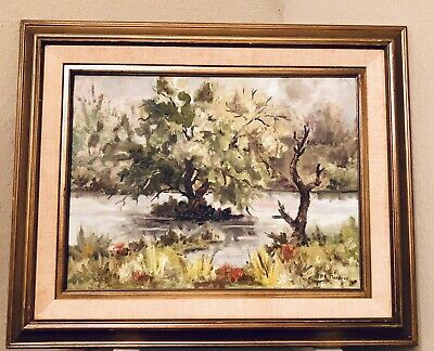 Oil Painting Landscape 1970's P.B. Meadows signed on canvas painting Vintage!