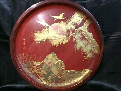 Antique Japanese Meiji wood old lacquer ware Bon tea tray Sencya tea ceremony