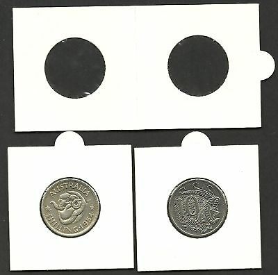 COIN HOLDERS 2 x 2 Staple Type 25mm Suits 1/- & 10c -BULK PACK of 100 Holders