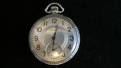 Victorian HAMILTON 912 14K WHITE GOLD 12S OF POCKETWATCH RUNS CLEAN Gold Filled