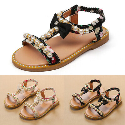 Kids Flowers Girls Sandals Toddler Anti-skid Princess Flat Open-toed Shoes Hot