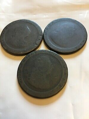 3 X George III, Early Milled Pennies - Dated 1797 - Well Worn