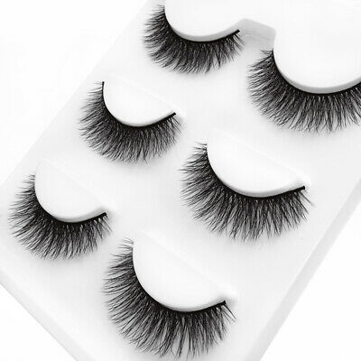 12pcs 3D Luxurious Real Mink Natural Cross Long Thick Eye Lashes False Eyelashes