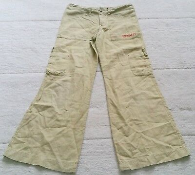 RipCurl Linen Blend Beige Cropped Cargo Trousers, 10 Years, 4 Pockets Surfer VGC