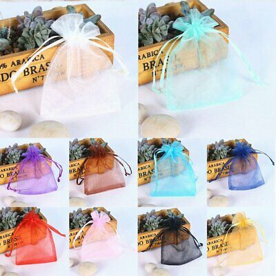 100Pcs Organza Jewellery Packing Pouches Wedding Party Favour Candy Gift Bags VU