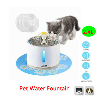 2.4L Cat Drinking Bowl Stainless Steel Pet Fountain Dog Water Dispenser +Filter