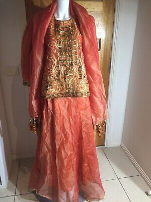Indian Dress 3 Piece Skirt Top And Scarf Orange With Sequins Size M