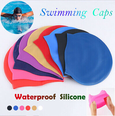 Unisex Solid Adult Kids Swimming Pool Cap Silicone Swim Hat Waterproof Shower
