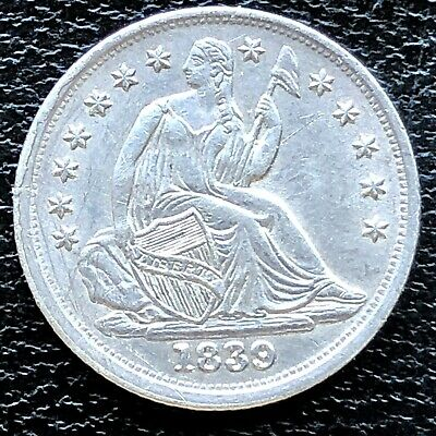 1839 Seated Liberty Half Dime 5c High Grade AU - UNC Det. #18720