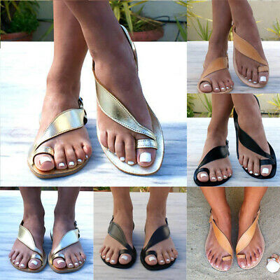 Women Summer Holiday Strappy lip On Flat Sandals Toe Ring Ladies Buckle Shoes