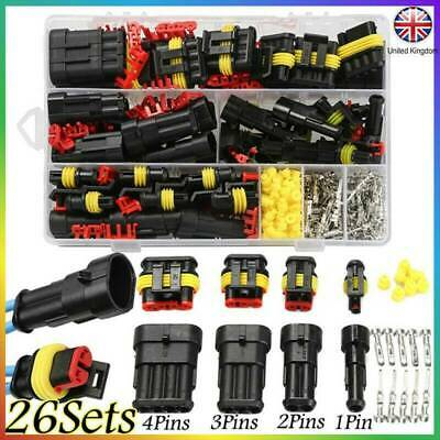 26Kits 1/2/3/4 Pin Way Sealed Waterproof Electrical Wire Connector Plug Car Auto
