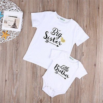 Fashion Kid Baby Girls Big Sister Little Brother Boy Romper Tops T-shirt Clothes