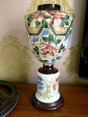 Beautiful Victorian Hand Painted Glass Vase/Urn Pedestal Base -Enamelled Flowers