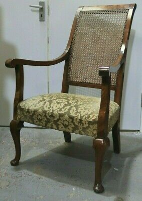 Vintage Antique Wooden Wicker Cane Back French Style Chair Armchair - 250