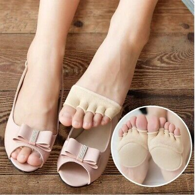 1Pair Five finger socks female thin section with foot pad slip exposed toe