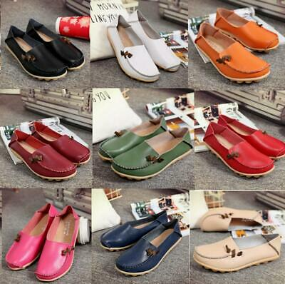 Women Faux Leather Casual Boat Moccasins Loafers Ladies Driving Flats Shoes Size