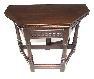 Antique Oak Credence Table / Hall Side Table with Fold Over Top