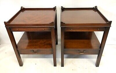 PAIR Antique GEORGIAN Style Mahogany Bedside Cabinets Lamp Stands BRUSH SLIDE