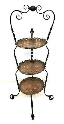 Antique ARTS & CRAFTS / ART NOUVEAU Wrought Iron & Copper Three Tier Cake Stand