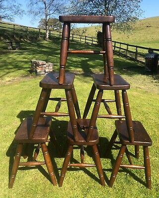 Antique Set of Six Rustic Ask and Elm Kitchen Joint Stools / Lamp Stands