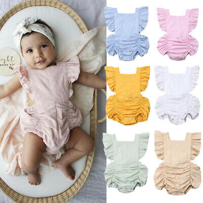 Sweet Newborn Baby Girl Ruffle Romper Bodysuit Jumpsuit Clothes Outfits Sunsuit