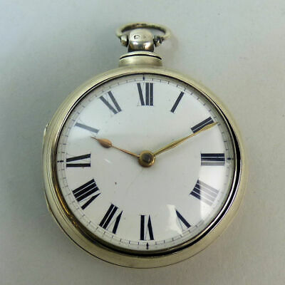 Antique English Silver Pair Case Fusee Movement Pocket Watch London 1869 - G.w.o