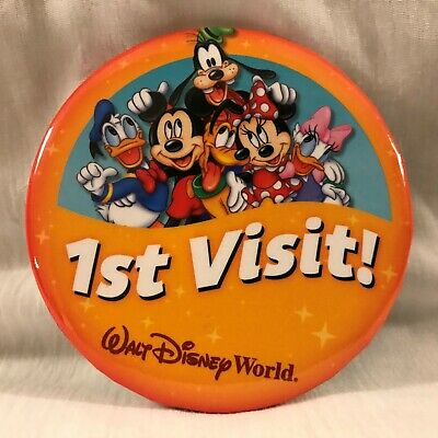 Orlando Disney World Mickey & Friends First Time Visit Collectors Button