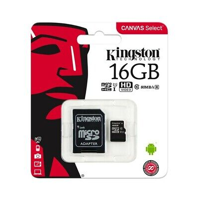 Kingston 16GB Micro SD SDHC Class10 UHS-I Tarjeta de Memoria 80MB/s + Adaptador