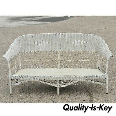 Antique Victorian Wicker Rattan Sunroom Patio Furniture Sofa Couch Furniture