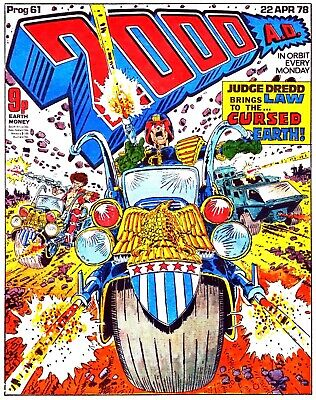 2000AD PROG 61 Dredd KEY ISSUE 1st Cursed Earth Saga. Great Condition Comic