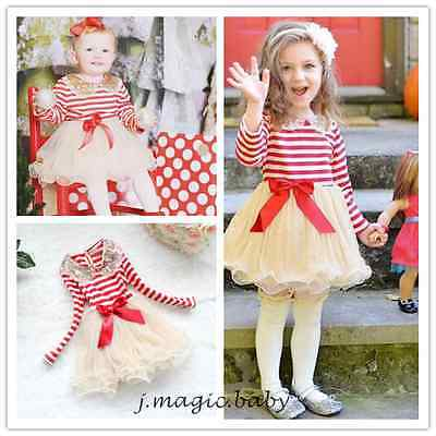 Girl Baby Toddler Kids Clothes Long Sleeve Bow Sequin Striped Dress Party 3-8Y