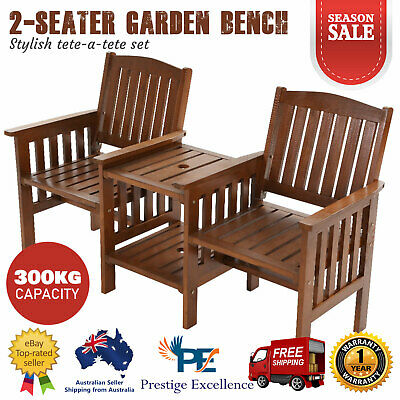 2-Seater Garden Bench Chair Table Wooden Outdoor Furniture Patio Park Seat Brown