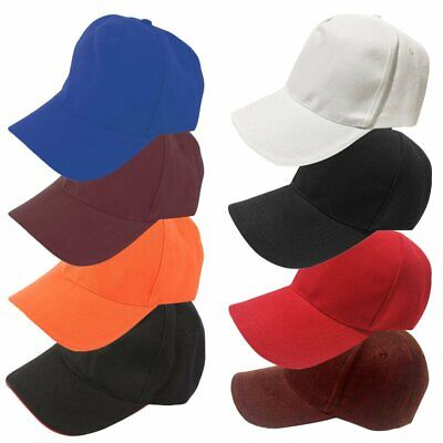 5 Pcs Plain Snapback Baseball Cap Hats Womens Men's Canvas Curved Peaked Caps