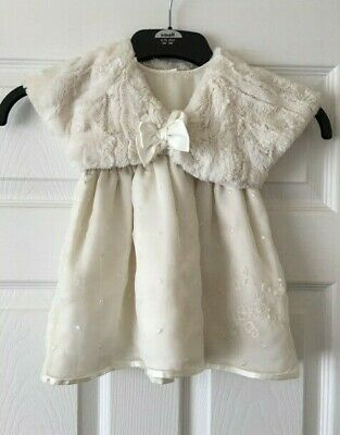 Girls Cream Mothercare Special Occasion Dress & Next Fluffy Bolero 3-6 Months B2