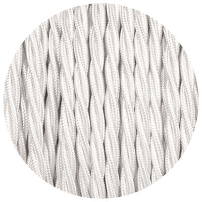 White 3 Core Twisted Vintage Electric fabric Cable Flex 0.75mm