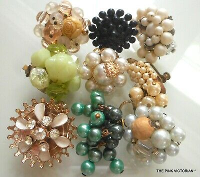 Lot Of 9 Vintage Single Bead Style Clip On Earrings,Repurpose, Jewelry Creations